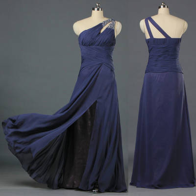 Ladies Split Front One Shoulder Celebrity Dresses Long Chiffon Evening Gown E158