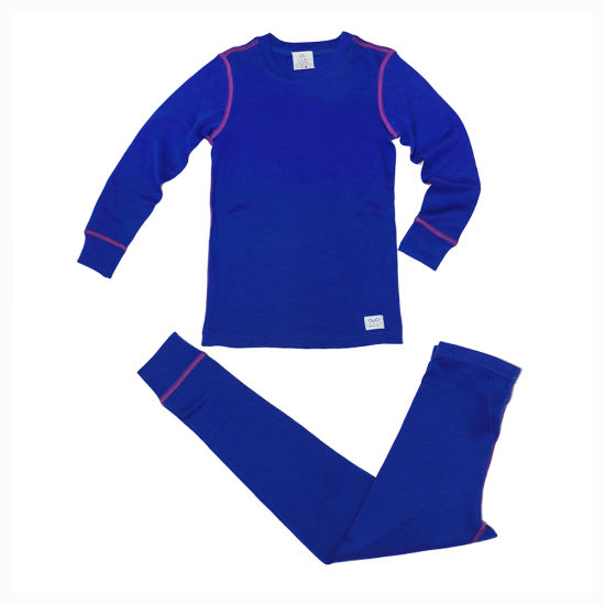100% Merino Wool Children′s Blue Thermal Underwear for Winter