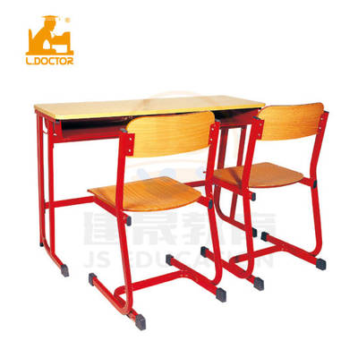 Double Old School Desk And Chair With Mdf Top Student Chair From