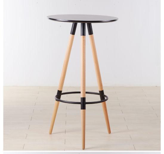 High Quality Three Wood Legs Round Top Bar Table
