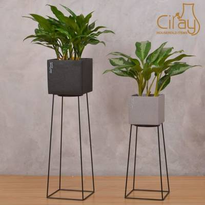 Black Square Cement Flower Pot with Iron Stand
