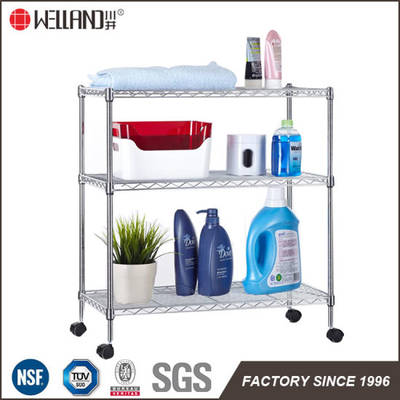 DIY 3 Tiers Home Chrome Bathroom Metal Wire Trolley Rack