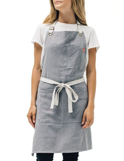 OEM Kitchen Apron Mens and Womens Linen Bib Apron