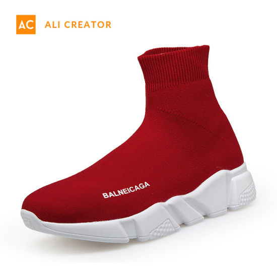 2019 New Design Fashion Breathable Knit Sock Shoes Women