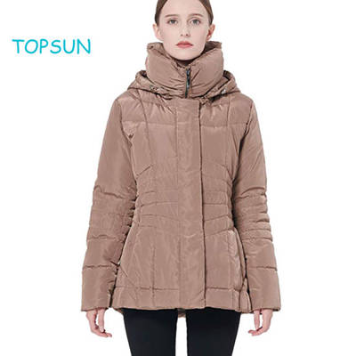 Women′s Short Down Coat Winter Jacket with Removable Hood