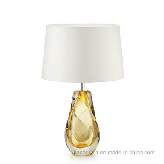 Modern Hand-Crafted Art Colored Glazed Glass and Crystal Table Lamp Light for Hotel Bedside, Living