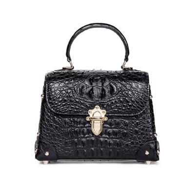 Crocodile Pattern Genuine Leather Small Square Bag Fashion Shoulder Handbag