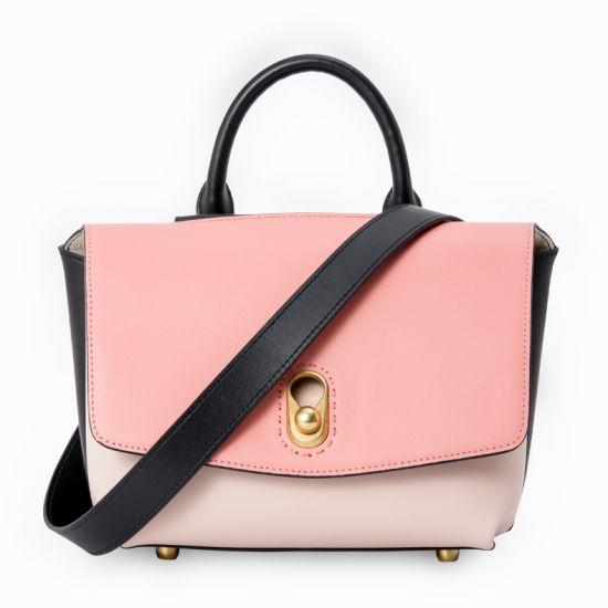Contrast Color Genuine Leather Women/'s Handbag Shoulder Bag Satchel Purse Hi-Q