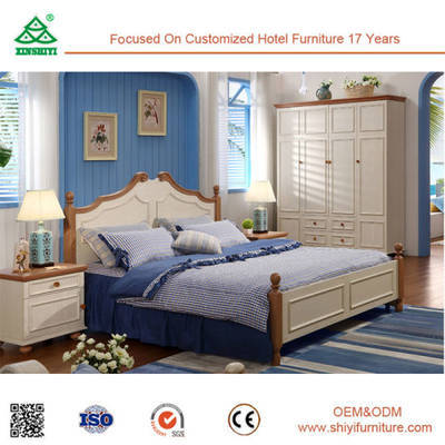 China Classic Vintage Style Solid Wood Double Bed Designs Pure