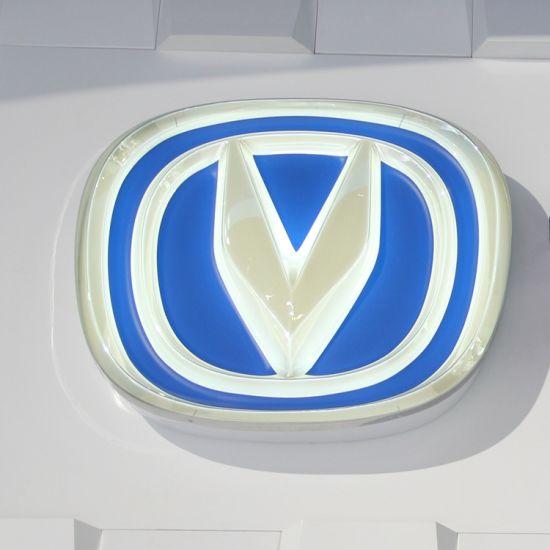 China Advertising FIAT Chrome Auto Car Logo Signage LED Round FIAT Vacuum Coating Autocar Logo Badge