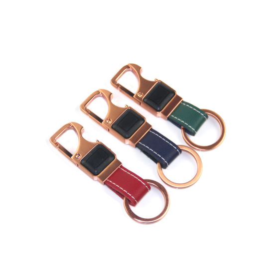 China BrAccessory Colorful Leather Keychain Braid Leather Keychain