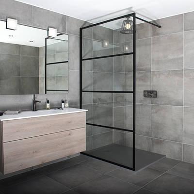 China Black Shower Screen Aluminium Framed Shower Screen New Bathroom Shower Screen
