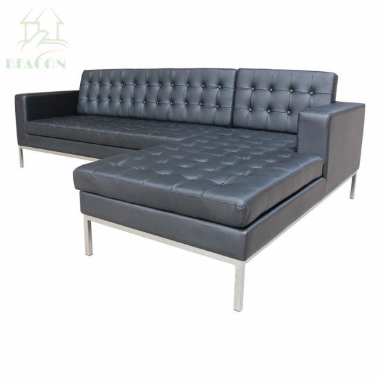 I-China Knoll Sofa 3 Seather Black Leather Sofa Yesitayela Sesimanje Sofa