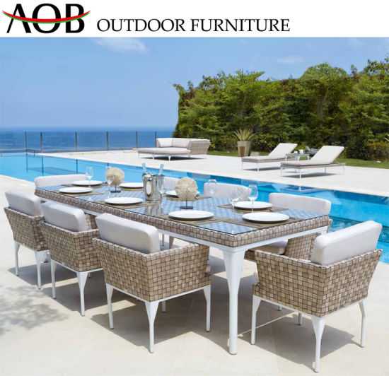 Strange China New Design Outdoor Garden Dining Set Aluminum Frame Furniture Rope Woven Table Chair Chinese F Onthecornerstone Fun Painted Chair Ideas Images Onthecornerstoneorg