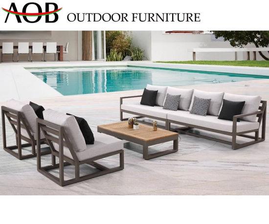 China Modern Outdoor Garden Patio Hotel Home Deck Villa Furniture Lounge  Aluminum Corner Sofa with T