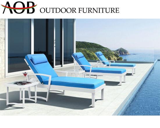 Magnificent China Outdoor Garden Patio Hotel Resort Seaside Lounge Furniture Aluminum Blue Beach Chair Sun Loung Dailytribune Chair Design For Home Dailytribuneorg