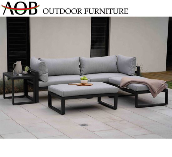 China Chinese Modern Outdoor Garden Home Livingroom Resort Hotel Fabric  Aluminium Sofa Set China Out
