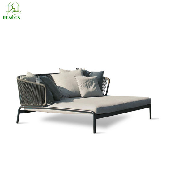 Saina Patio Faatoʻaga Rattan Day Bed Wicker Daybed Outdoor Sun Bed