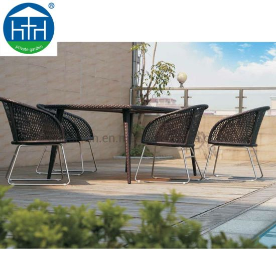China Traditional Outdoor Patio Garden Furniture Rattan Wicker Dining Table  Set for Sale China Outdo