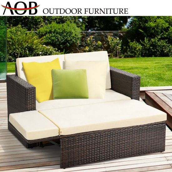 China Chinese Outdoor Garden Rattan Wicker Furniture Square Functional Sofa  Bed Daybed Sunbed Chines