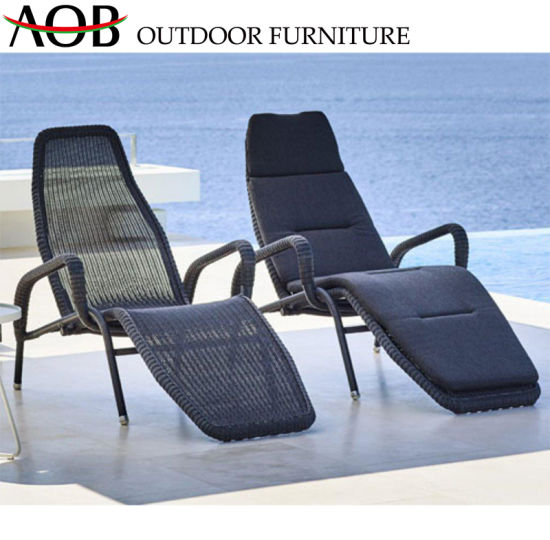 Miraculous China Customized Modern Outdoor Garden Patio Poolside Beach Hotel Furniture Rope Woven Black Chaise Alphanode Cool Chair Designs And Ideas Alphanodeonline