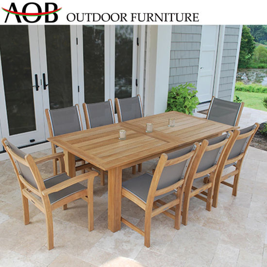 China Modern Chinese Outdoor Garden Home Hotel Teak Wood Resort Restaurant Cafe Dining Table Chair F