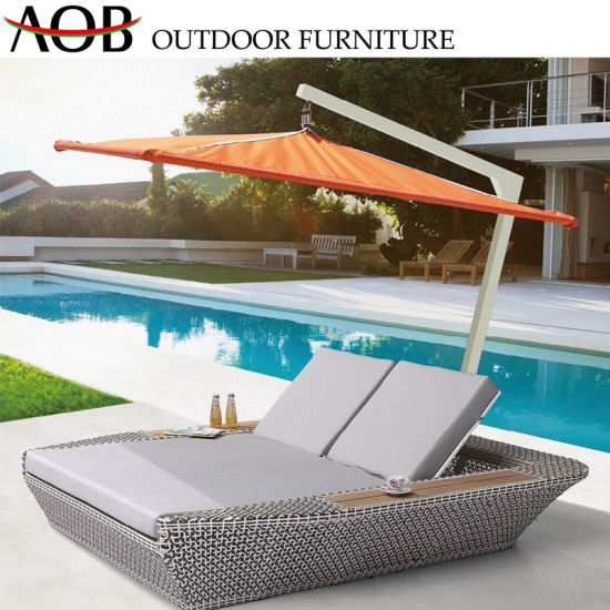 China Rooftop Balcony Outdoor Garden Furniture Rattan Chairs Poolside Sunbed Lounge Lying Daybed Chi