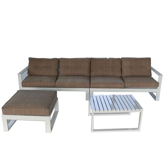 China L Shape Corner Sofa Furniture with Coffee Table Aluminum Sofa  Furniture Modern Outdoor Furnitu