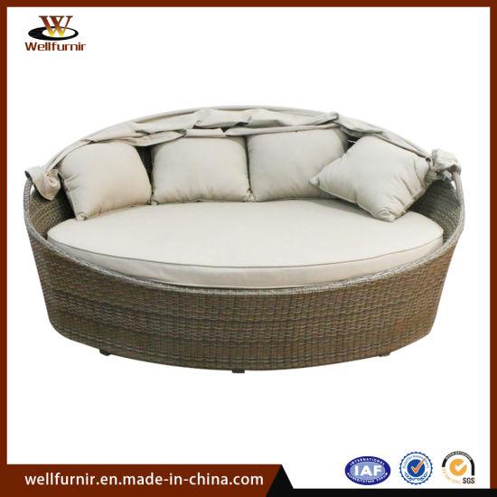 Cama de día de vimbio de China Cama redonda de cama exterior