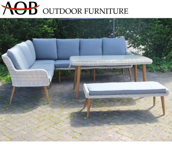 China Modern Leisure Outdoor Patio Aluminum Rope Woven Sofa Teak Wood  Garden Furniture Sets China Ho