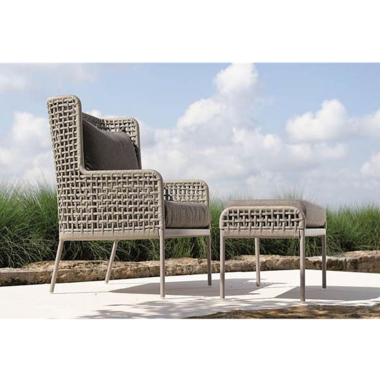 Tremendous China Agreta Contemporary Powder Coated Aluminum Rope Outdoor Club Chair With Ottoman Cjindustries Chair Design For Home Cjindustriesco