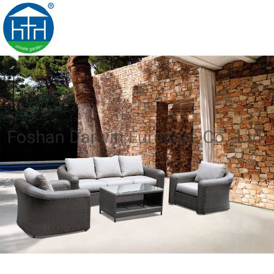 China Big Armrest Loading Capacity Fine PE Rattan Wicker Patio Outdoor  Furniture Sofa Set