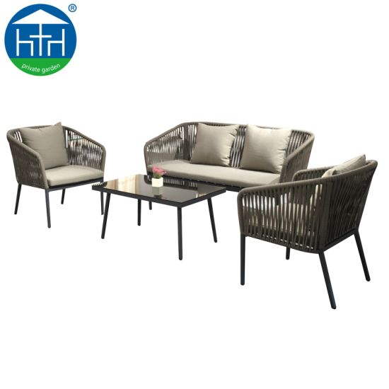 Iċ-Ċina Morden Patio Furniture Rope Sofa Set Outdoor Aluminum Pictures All Stampi tat-temp u ritratti
