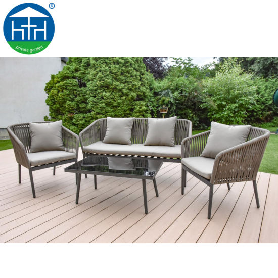 China Morden Patio Miwwel Rope Sofa Set Outdoor Aluminium All Weather Chair