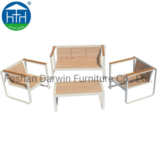 China Oudoor Patio Furniture Sofa Set Aluminum Wood Garden Chair