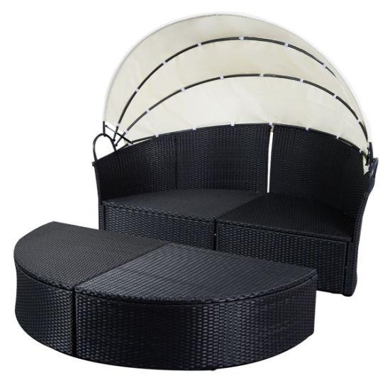 China Black Outdoor Round Patio Rattan Sofa Furniture
