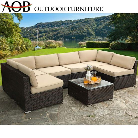 China Modern Outdoor Furniture Garden Dining Room Rattan Wicker Sofa Set  with Back Pillow