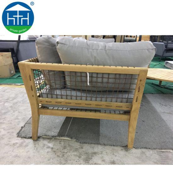 China Outdoor Teak Wood Furniture Patio Sectional Rattan Wicker Garden Sofa