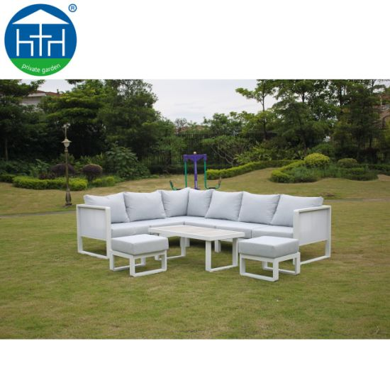 China Patio Furniture Big Armrest Durable Aluminum Sofa Set Flexible  Modular Lounge