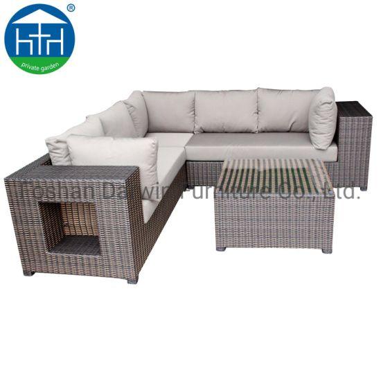 China Patio Furniture Corner Sofa Leisure Living Room Sectional Rattan Sofa  Set