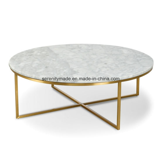 China Round Marble Top Coffee Table with Stainless Steel Legs
