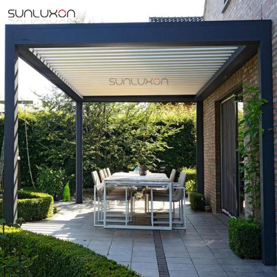 China Modern Outdoor Gazebo Garden Folding Louver Roof Aluminium