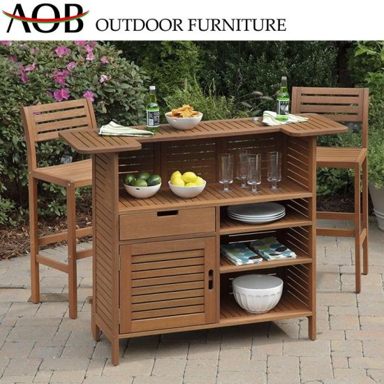 China Outdoor Contemporary Wholesale Garden Balcony Hotel Furniture Teak Poly Wood Functional Table
