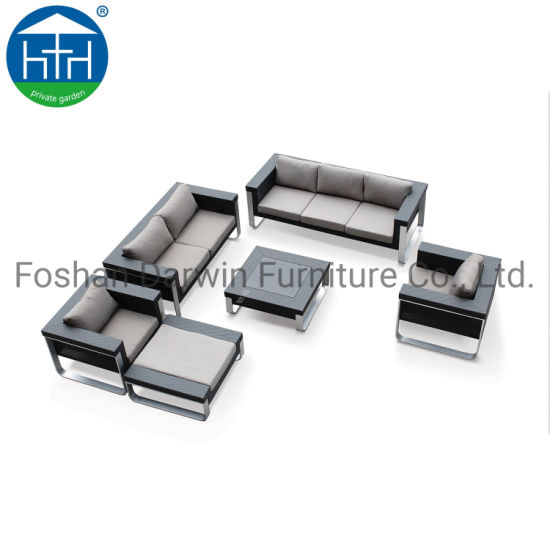 China 2019 New Collection Pouf Ottoman Couch Comfortable Sofa Set Wicker Rattan
