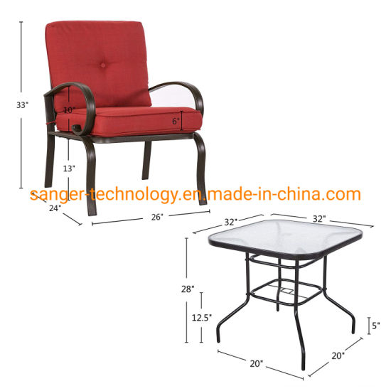 """24/"""" Outdoor Patio Furniture Tempered Glass Top Steel Frame Round Table Garden"""