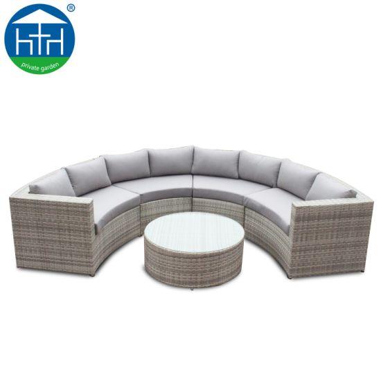 China Round Fan Shape Design Corner Sofa Set Rattan Furniture Outdoor Garden