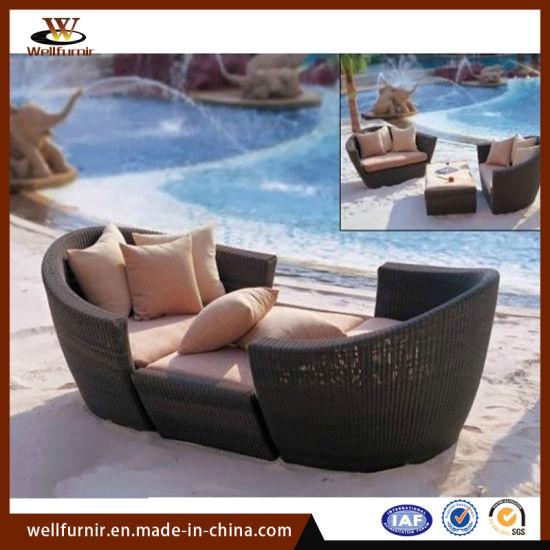 China Mobles de exterior creativos Cadeira de salón de vimbio de rattan Cama de patio de lecer con balcón