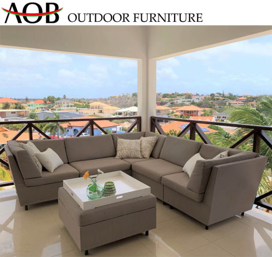 China Wholesale Modern Outdoor Garden Home Deck Balcony Furniture Patio  Modular L Shape Lounge Couch