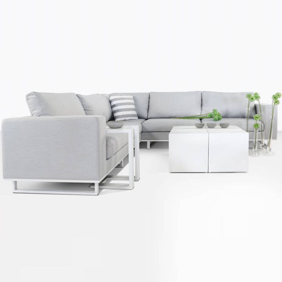 China Apartmento Outdoor L Shape Sectional Fabric Sofa in Gray