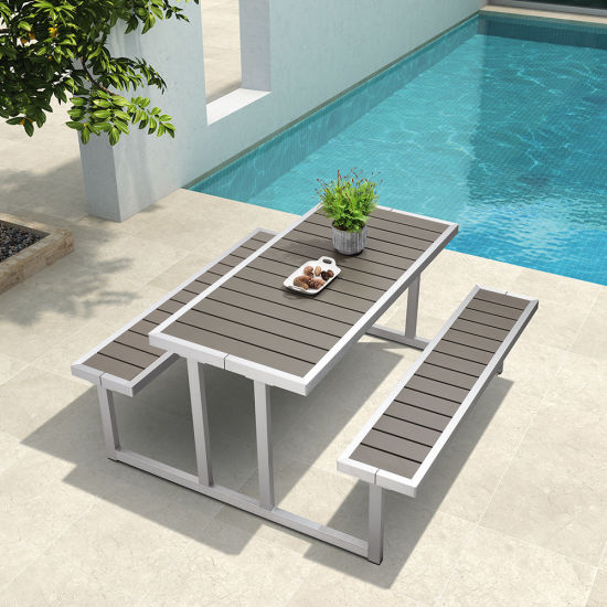 China Patio Aluminum Plastic Wood Attached Table Chair Outdoor
